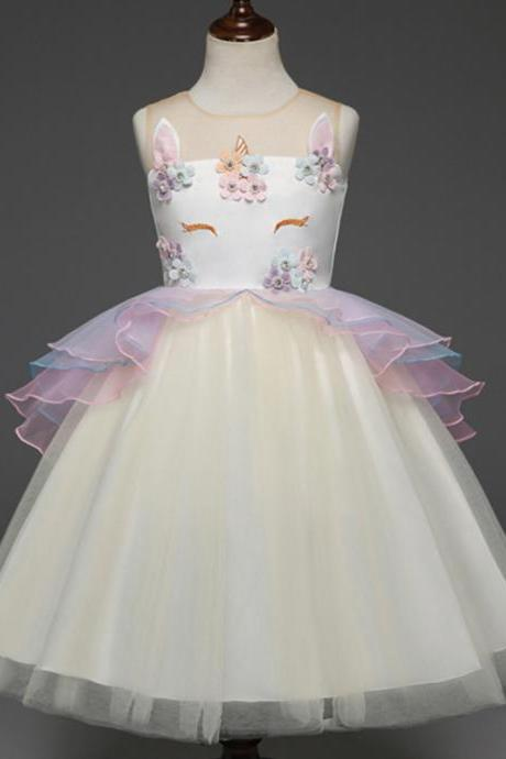 Fancy Kids Unicorn Dress Girls Embroidery Flower Baby Girl Princess Party Costumes Gowns yellow