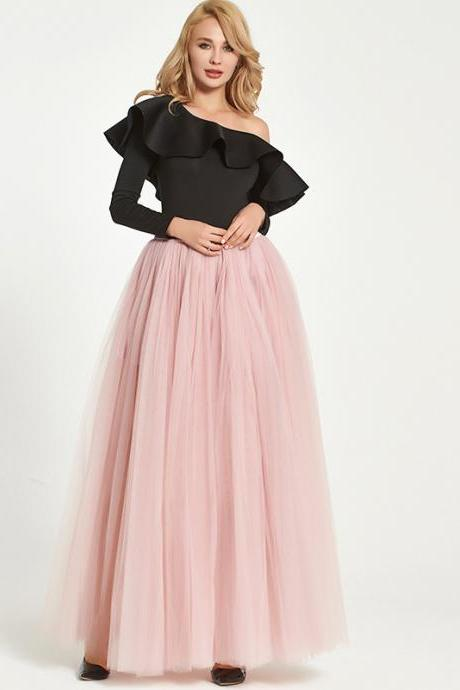 Sexy High Side Split Long Tulle A Line Skirt High Waist Floor Length Women Maxi Tutu Skirt dusty pink