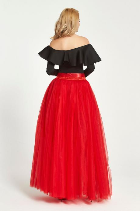 Sexy High Side Split Long Tulle A Line Skirt High Waist Floor Length Women Maxi Tutu Skirt red