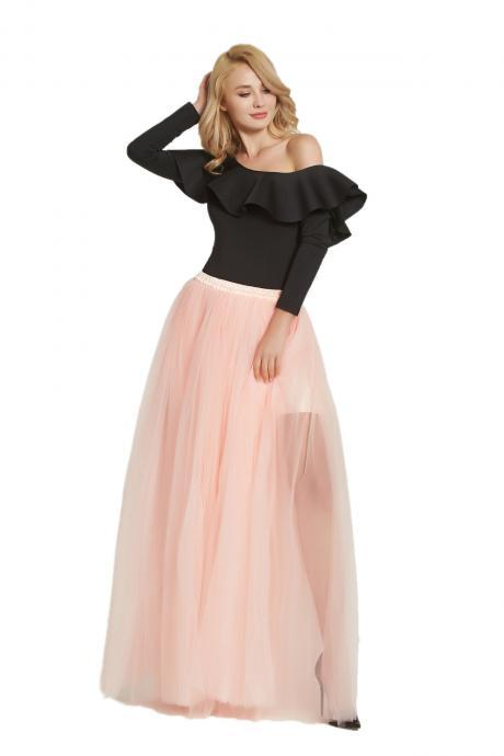 352f003081e Sexy High Side Split Long Tulle A Line Skirt High Waist Floor Length Women  Maxi Tutu