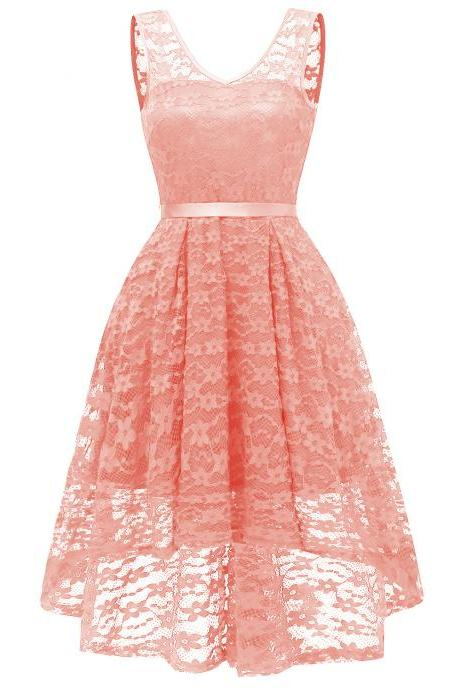 Vintage High Low Floral Lace Dress V Neck Backless Belted Women A Line Cocktail Party Dress salmon