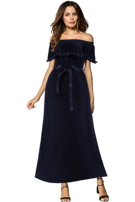 Off the Shoulder Pleated Maxi Dress Boho Summer Belted Women Long Prom Party Dress navy blue