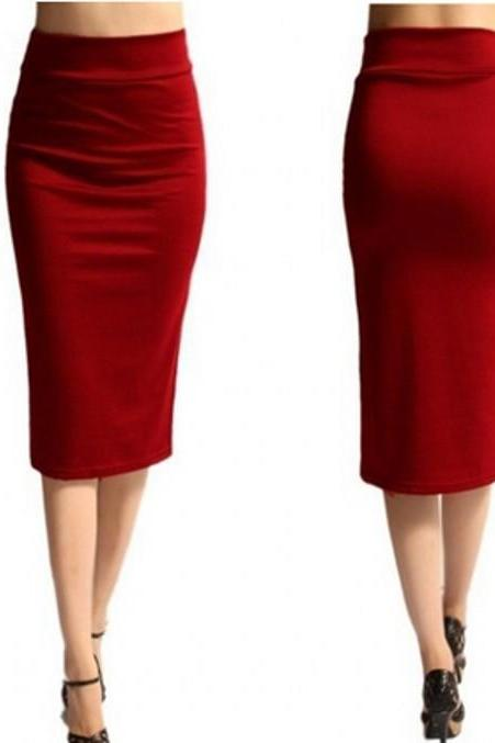 Slim Pencil Skirt High Waist Knee Length Casual Work Office Solid Sheath Bodycon Skirt red