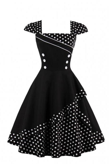 Summer Polka Dot Dress Women Cap Sleeve Hepburn 50s Vintage Button A Line Party Dress black