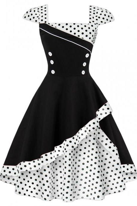Summer Polka Dot Dress Women Cap Sleeve Hepburn 50s Vintage Button A Line Party Dress off white