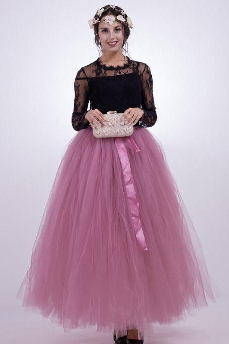 Puffty Women Tulle Tutu Skirt High Waist Lace up Jupe Female Prom Party Bridesmaid Skirts blush