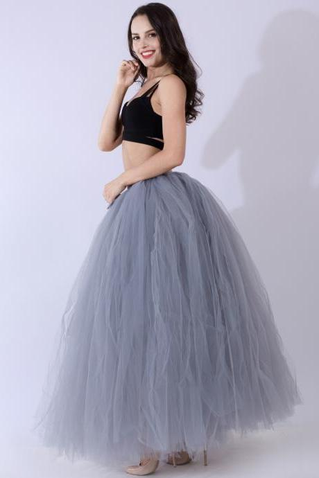 Puffty Women Tulle Tutu Skirt High Waist Lace up Jupe Female Prom Party Bridesmaid Skirts gray