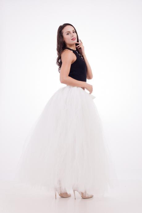 Puffty Women Tulle Tutu Skirt High Waist Lace up Jupe Female Prom Party Bridesmaid Skirts ivory
