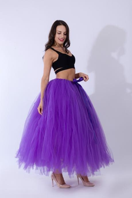Puffty Women Tulle Tutu Skirt High Waist Lace up Jupe Female Prom Party Bridesmaid Skirts purple