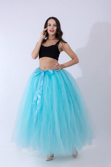 Puffty Women Tulle Tutu Skirt High Waist Lace up Jupe Female Prom Party Bridesmaid Skirts sky blue