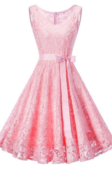Vintage Floral Lace Dress Women V Neck Sleeveless Cocktail Evening Party Swing Dress pink