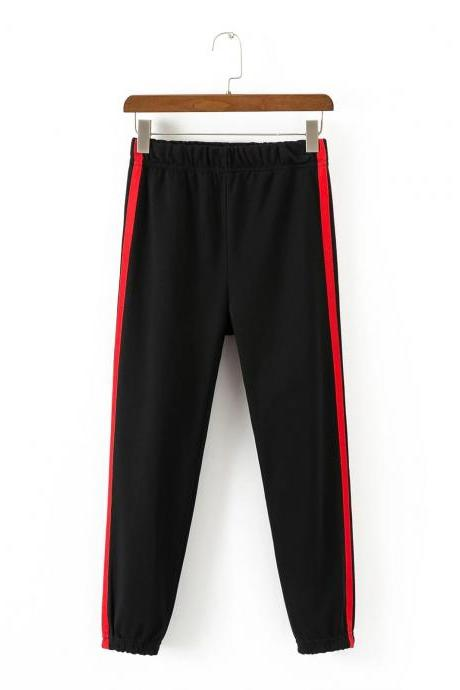 Black Casual Trousers, Joggers with Side Red Stripe
