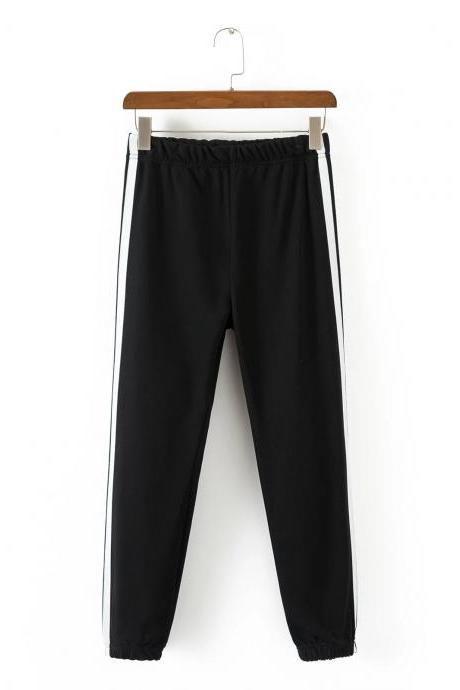 Black Casual Trousers, Joggers with Side White Stripe