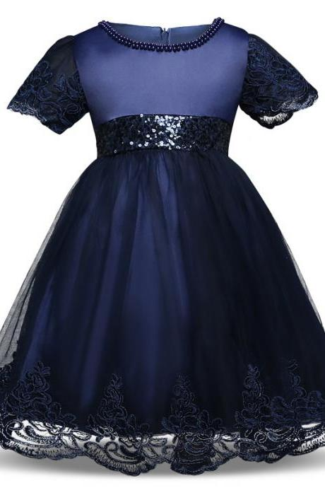 Princess Lace Flower Girl Dress Short Sleeve Bow Tutu Party Ball Gown Baby Toddler Kids Clothes navy blue