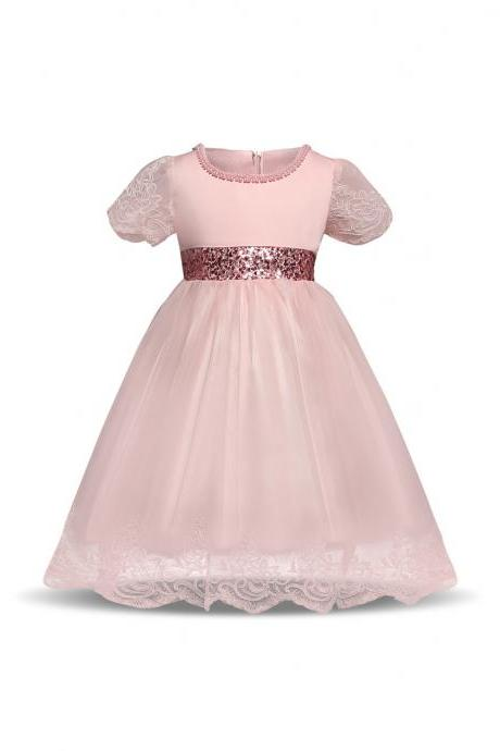 Princess Lace Flower Girl Dress Short Sleeve Bow Tutu Party Ball Gown Baby Toddler Kids Clothes pink