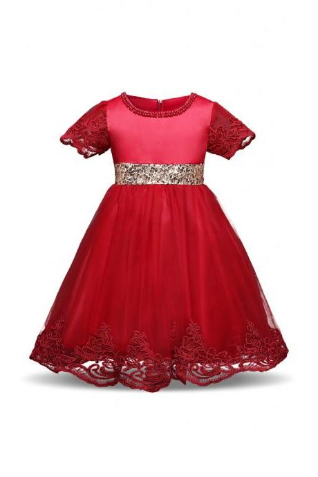 Princess Lace Flower Girl Dress Short Sleeve Bow Tutu Party Ball Gown Baby Toddler Kids Clothes red