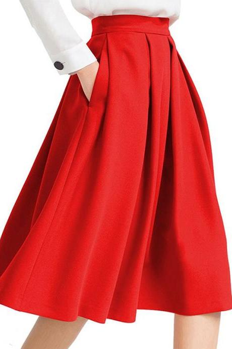 Red High Rise Knee Length Ruffled A-Line Skirt Featuring Pockets