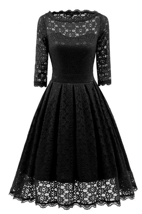 Women Floral Lace Dress Vintage 50s 60s 3/4 Sleeve Rockabilly Cocktail Evening Party Swing Dress black