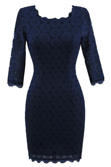 Vintage Lace Bodycon Pencil Dress Sexy Backless Square Collar 3/4 Sleeve Women Sheath Cocktail Party Dress navy blue