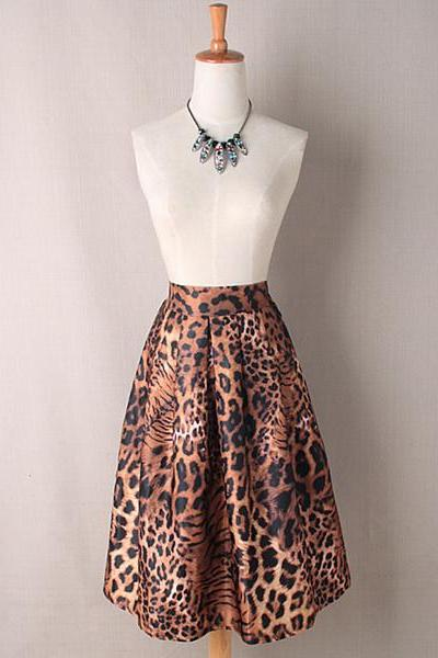 Women Midi Skater Skirt Vintage Leopard/Tiger Print High Waist A-Line Tutu Pleated Skirt Tiger