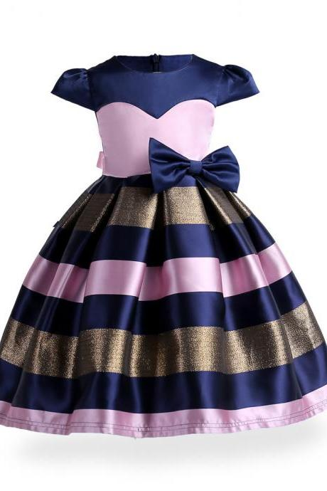 Baby Girls Striped Dress Bow Cap Sleeve Kids Formal Party Birthday Costume Children Clothes pink