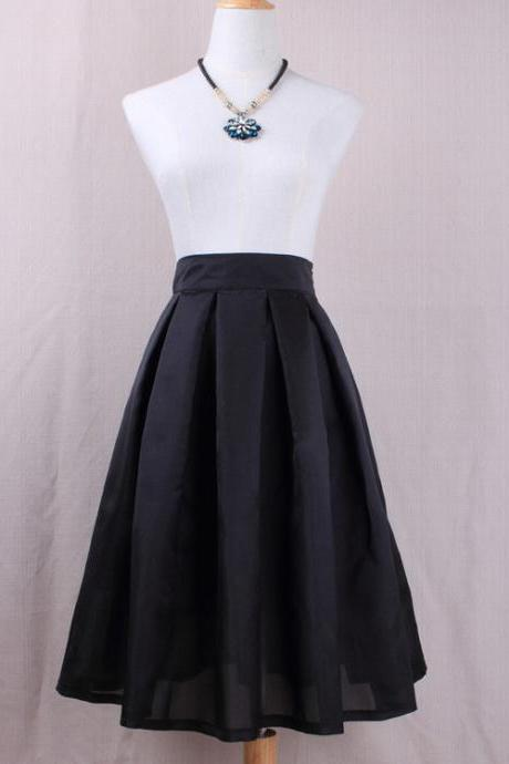 Simple Women A Line Midi Skirt High Waist Pleated Solid Office Work Skater Skirt black