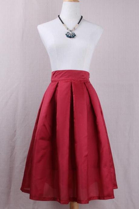 Simple Women A Line Midi Skirt High Waist Pleated Solid Office Work Skater Skirt crimson