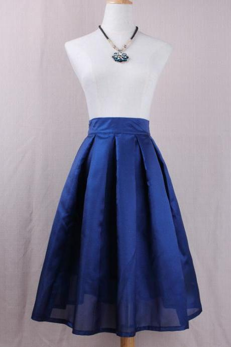 Simple Women A Line Midi Skirt High Waist Pleated Solid Office Work Skater Skirt dark blue