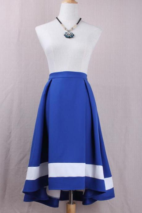 Women High Low Midi Skirt High Waist Pleated Patchwork Office Work A Line Skater Skirt blue