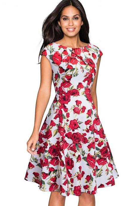 Elegant Women Summer Casual Dress Cap Sleeve Work Office Floral Party A-Line Swing Dress 4#