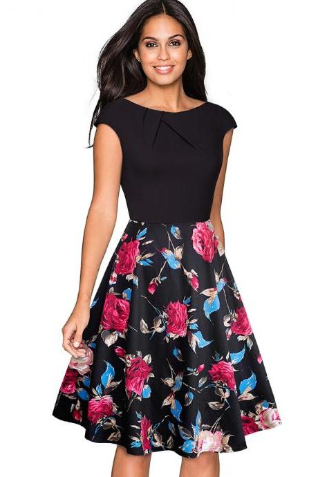 Elegant Women Summer Casual Dress Cap Sleeve Work Office Floral Party A-Line Swing Dress5#