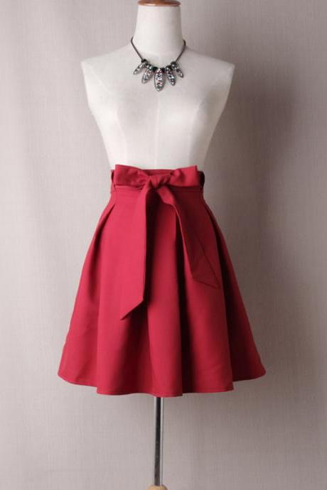 Women A Line Midi Skirt High Waist Bow Belted Office Work Pleated Tutu Short Skater Skirt crimson