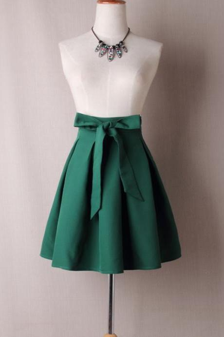 Forest Green Bow Accent High Rise Ruffled Short Skater Skirt