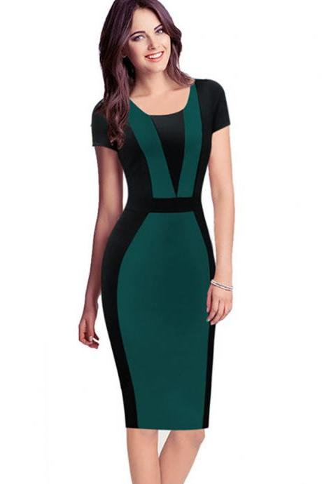 Women Bodycon Pencil Dress Patchwork Contrast Color Short Sleeve Sheath Work Office Party Dress green