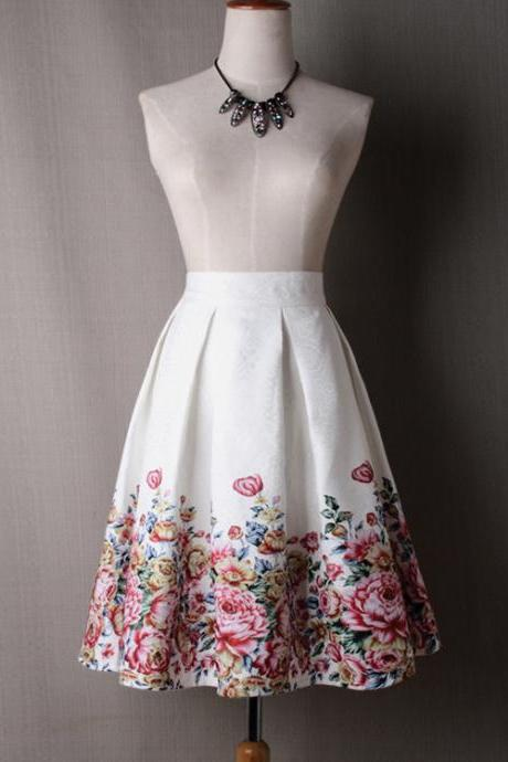 Women Midi Skater Skirt Vintage Floral Printed High Waist Pleated A Line Skirts off white