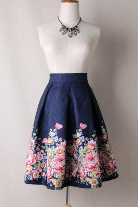 Women Midi Skater Skirt Vintage Floral Printed High Waist Pleated A Line Skirts navy blue