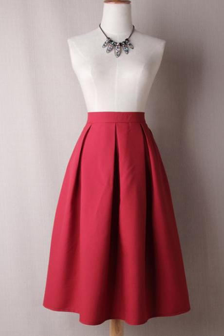 Women A Line Midi Skirt High Waist Pleated Solid Below Knee Office Work Skater Skir tcrimson