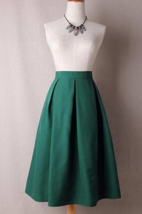 Women A Line Midi Skirt High Waist Pleated Solid Below Knee Office Work Skater Skirt green