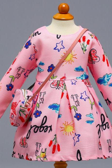 Long Sleeve Girl Party Dress Floral Printed Toddler Kids Children Clothes with Bag6#