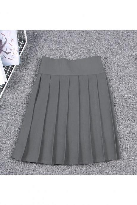 Harajuku JK Summer Skirt Women High Waist Cosplay Solid Girl Mini Pleated Skirt dark gray
