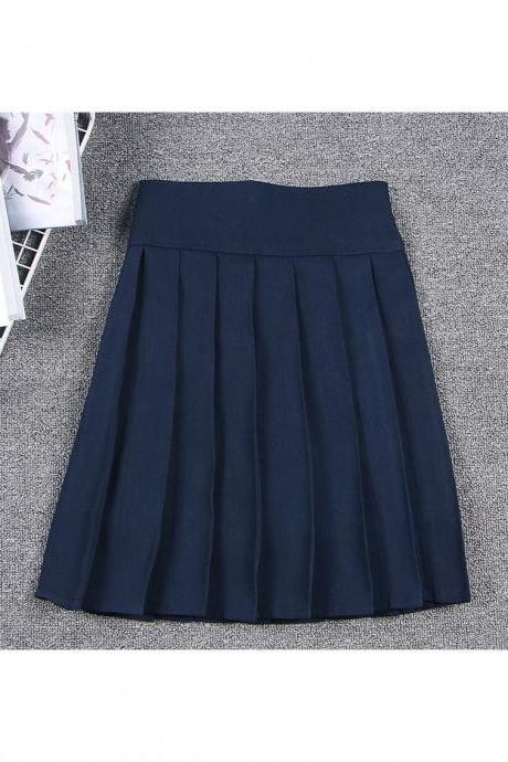 Harajuku JK Summer Skirt Women High Waist Cosplay Solid Girl Mini Pleated Skirt navy blue