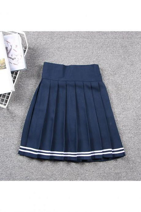 Harajuku JK Summer Skirt Women High Waist Cosplay Solid Girl Mini Pleated Skirt navy blue+off white