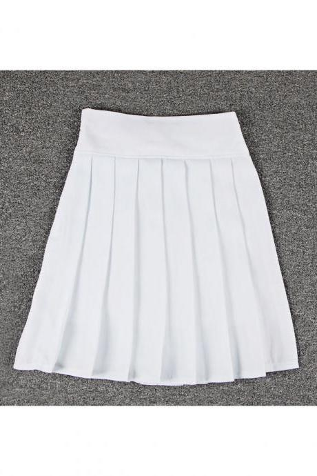 White High Rise Short Pleated Skater Skirt