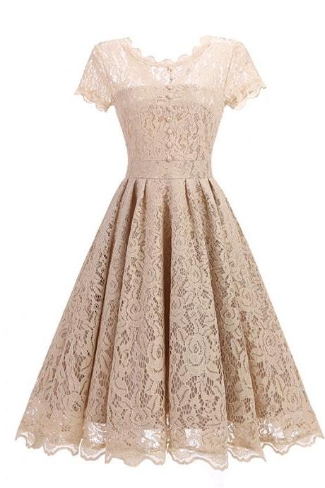 Vintage Floral Lace Pleated Dress Women Short Sleeve Buttons A Line Cocktail Party Swing Dress champagne