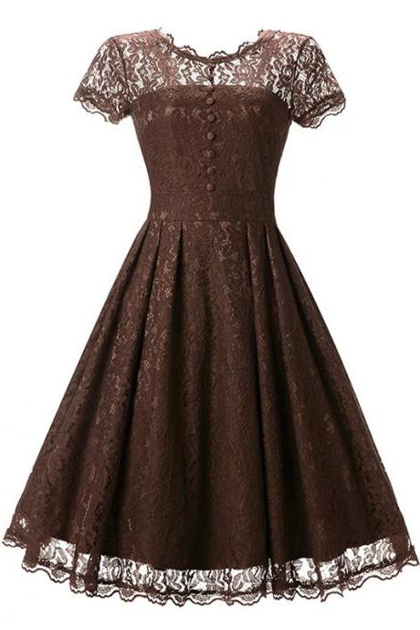 Vintage Floral Lace Pleated Dress Women Short Sleeve Buttons A Line Cocktail Party Swing Dress coffee
