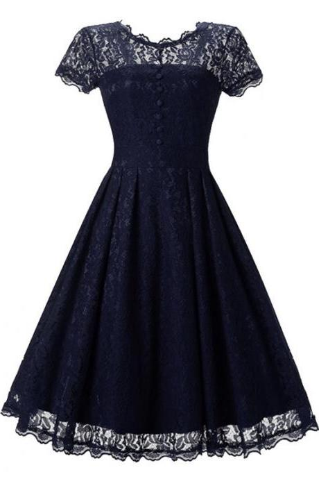 Vintage Floral Lace Pleated Dress Women Short Sleeve Buttons A Line Cocktail Party Swing Dress navy blue