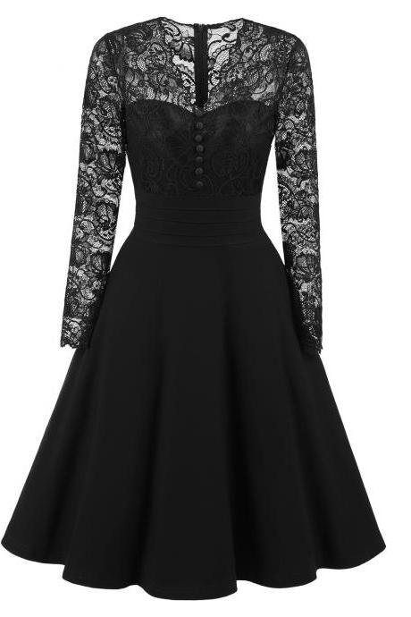 Long Sleeve Floral Lace Dress Vintage Buttons V Neck Women Cocktail Evening Party Swing Dress black