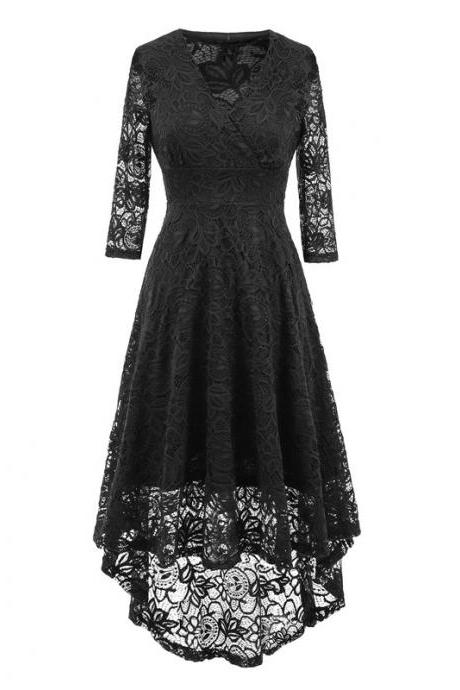 Vintage Floral Lace High Low Dress Women V Neck 3/4 Sleeve Cocktail Evening Party Swallowtail Dress black