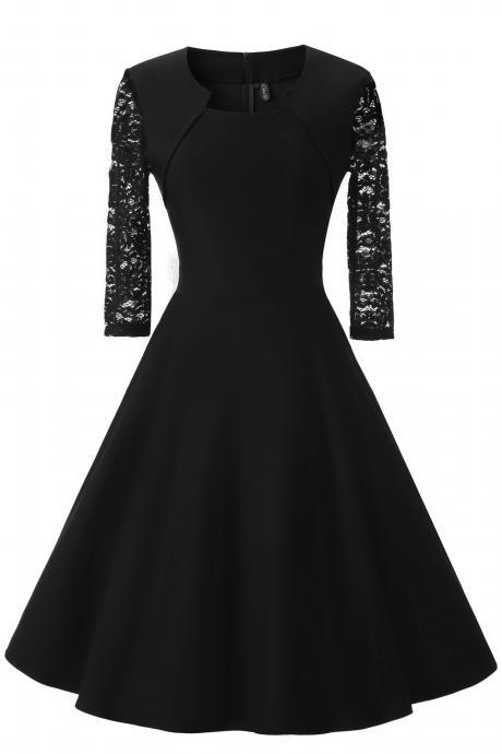 Vintage 50 60s Lace Patchwork Dress Women 3/4 Sleeve Rockabilly Swing Cocktail Prom Party Dress black