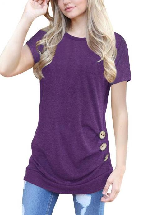 Women T-Shirt Casual O-Neck Buttons Ladies Girls Summer Slim Short Sleeve Tops purple